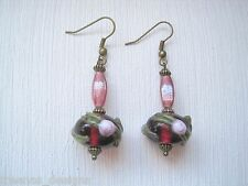 *RASPBERRY PINK ROSE GARLAND LAMPWORK GLASS BEAD* Bronze Drop Earrings Gift Bag