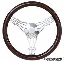 """57-68 Studebaker Hawk Lark 14"""" Dark Wood Banjo Style Steering Wheel w/ Adapter"""