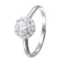 925 STERLING SILVER LADIES CLUSTER RING W/ ROUND DIAMOND/ NEW DESIGN!! SZ 5-9