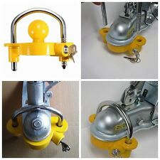 Universal Caravan Trailer Hitch Tow Steel Ball Coupler Lock Coupling With 2 Keys