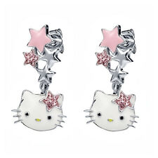 Hello Kitty Enamel Earrings with Star Crystal Bow and Star Accents