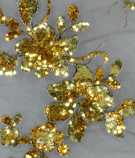 By Meter Gold Flower on Black Sequined & Embroidered Mesh Lace Wedding Fabric