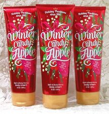 x3 Bath & Body Works ~ WINTER CANDY APPLE ~ Ultra Shea Body Cream Set 8 oz.