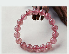 9mm Natural Ice Strawberry Quartz Crystal Stretch Beads Bracelet AAA