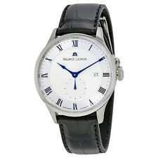Maurice Lacroix Masterpiece Silver Dial Black Alligator Leather Mens Automatic