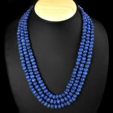 TOP MOST 654.00 CTS EARTH MINED 3 LINE BLUE SAPPHIRE BEADS NECKLACE - GEM EDH