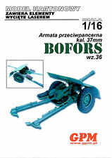 Anti Tank Gun  37mm Bofors Model 36 scale 1/16  model kit with lasercut parts