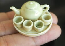 DOLLHOUSE MINIATURE GREEN OLIVE TEA SET PORCELAIN TABLEWARE SUPPLY COLLECTIBLES