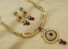 Bollywood Ethnic Bridal Gold Plated Traditional Necklace Earrings Set Jewelry