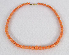 "Antique C. 1880 Victorian Salmon Coral Necklace 13 1/2"" 34 cm"