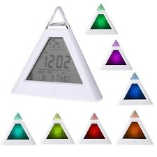 New 7 LED Changing Color Pyramid Digital LCD Alarm Desk Clock Thermometer