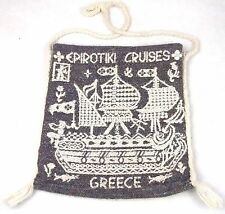"""Vintage EPIROTIKI CRUISES Tote Bag GREECE Handbag BOHO Hippie Style 12"""" x 13"""""""