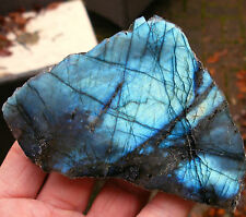 AAA GRADE MADAGASCAR LABRADORITE 1 SIDE POLISHED XL FREEFORM 105mmx70mm ID CARD