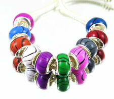 100PCS mix Wood Grain Acrylic Bead silver core Fit European Bracelet KM16