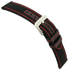 24mm Hadley Roma Red Stitched Genuine Kevlar Black Watch Band Strap MS848