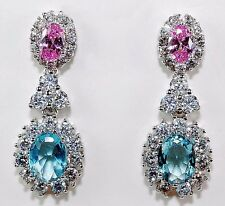 4CT Pink Sapphire & Aquamarine 925 Solid Genuine Sterling Silver Earrings