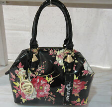 Purse Black with Pink Roses Patent Leather Satchel Flat Studded Bottom NWT P102