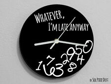 Whatever I'm Late Anyway / Round Black - Wall Clock