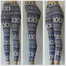 Fashion Colorful Pattern Wave Leggings One Sz Skinny Women Slim Stretch Pants 3