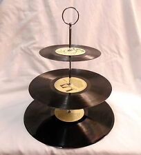 Vinyl Record 3 tier cake stand - CREAM - Party, Wedding, Birthday, Cup Cake