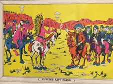 Vintage Black Light Poster General Custer's Last Stand & Indian Psychedelic 60s