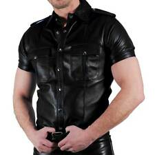 RoB black leather police shirt size medium Bluf - Gay!