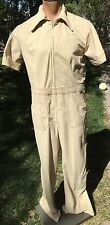 Vintage Tan Polyester Arnel Leisure Suit HRL Ltd Jumpsuit Men's Sz XL Coveralls
