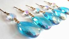 5 Iridescent Aqua Teardrop Chandelier Crystals Turquoise Blue AB Prisms Almond