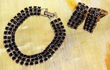 Art Deco Revival Glorious Black Rhinestone Vintage Bracelet Earrings Set SU1