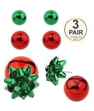 CHRISTMAS THEME 3 Pair Set Double Sided Green Red Bow And Ball Earrings