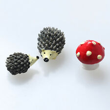 Miniature Garden Fairy Ornament Hedgehog & Mushroom Set For Dollhouse Decor Cute