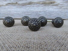 Small Floral Flower Antique Bronze Brass Metal Knob - Drawer Pull - Dresser