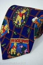 "Mickey ""Inc. Mens 100% Silk Hand Made Tie in Blue, and Red.. With Winnie the Poo"