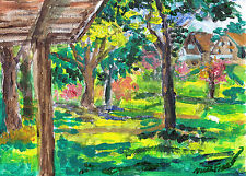 """""""OUTSIDE AT THE PARK"""" by Ruth Freeman ACRYLIC ON CANVAS 9"""" X 11 1/2"""""""