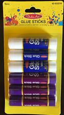 6 white/Purple Glue Sticks-For Art and Crafts-Washable-Dries Clear-Safe For Kids
