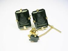 VINTAGE SWANK CUFF LINKS WITH MATCHING TIE TACK BLACK ONYX HAND ENGRAVED BUDDHA