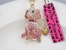 Betsey Johnson cute inlaid Crystal pink dog pendant necklace # F205