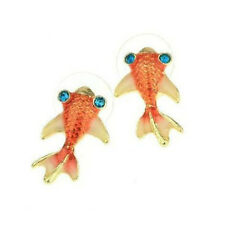 Quirky Rhinestone Crystal Orange Goldfish Stud Earrings - FREE Organza Bag