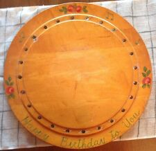 """Vintage Wood Birthday Cake Plate Stand Tray Board Candle Antique Wooden Rose 16"""""""