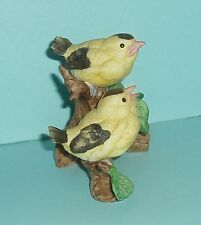 Two Birds Sitting on a Branch Figurine Lefton Gold Finch #03306