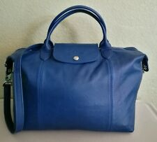 Longchamp Blue Le Pliage Cuir Medium Leather Handbag with Strap