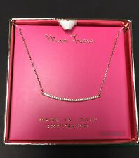 Mia Fiore Made In Italy Sterling Silver/ Gold Overlay/CZ Bar Necklace -NWT