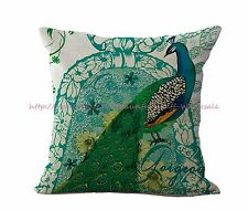vintage peacock cotton linen cushion cover replacement outdoor cushion covers