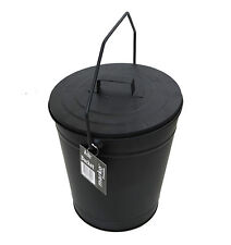 BLACK METAL ASH BUCKET HEAVY DUTY TIDY BIN BASKET FIRESIDE COAL LID AND HANDLE