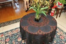 "VINTAGE CROCHET EMBROIDERY TABLECLOTH 64"" Round Black"