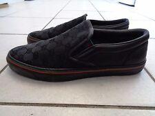 Auténtico Gucci Resbalón en Zapatillas Sneakers Size 7 Negro GG Lona Monogram