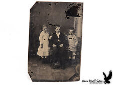 Antique Tintype Portrait 3 Children Head Stand Visible