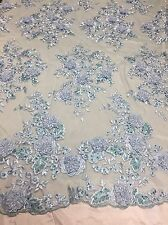 Light Blue Metallic Fanciful 3D Flowers Embroider With Rhinestones On A Mesh -yd