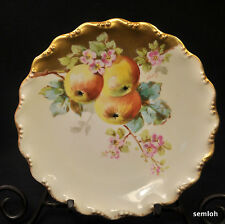 LIMOGES COIFFE FLAMBEAU PLATE 1891-1914 Artist A. Conley APPLES PINK FLORAL GOLD