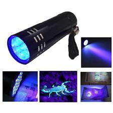 Mini Aluminum UV UltraVioletT 9 LED Flashlight Blacklight Torch Light Lamp YJ US